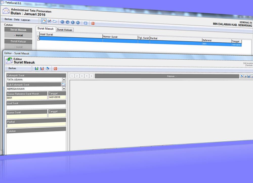 Aplikasi Tata Persuratan Gratis - Membuat, Menyimpan Laporan Keluar masuk dan Pengkodean Surat