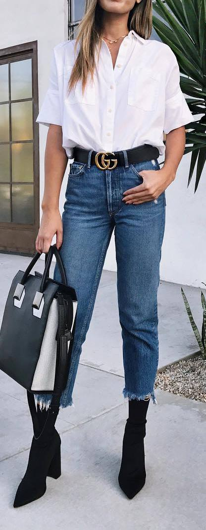 summer outfit idea: shirt + jeans + heels