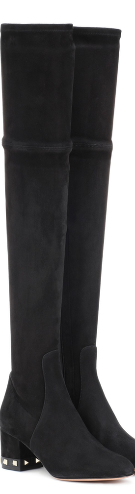 Valentino Garavani Rockstud suede over-the-knee boots