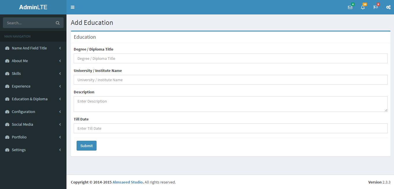 Web design and development php codeigniter admin panel free add content page maxwellsz