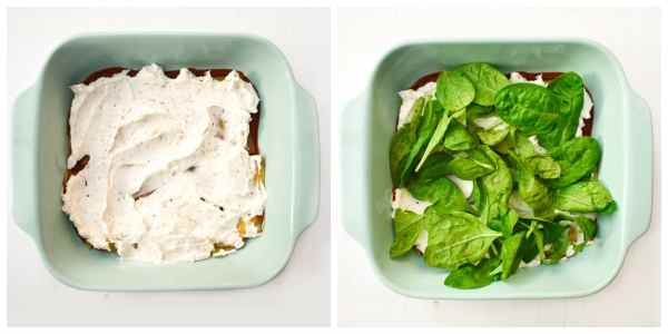how to make spinach and corn lasagne - step 3 (a layer of fresh spinach on top of the cream cheese)