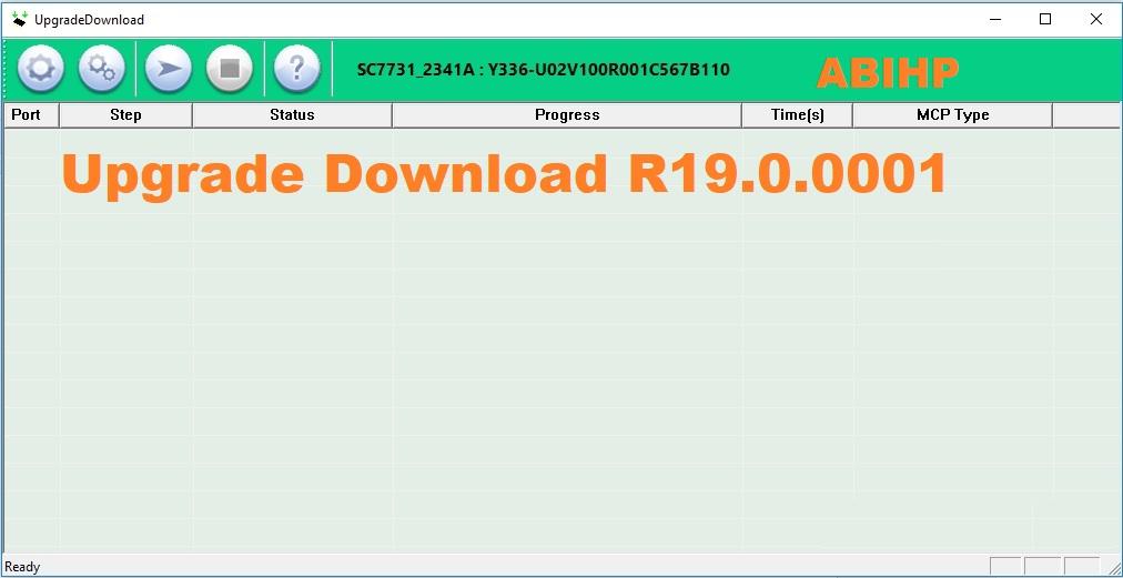 Lakukan proses flashing dengan menggunakan versi Upgrade Download R19.0.0001.