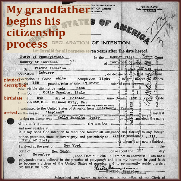 Your ancestor's naturalization papers will hold a lot of facts you need.