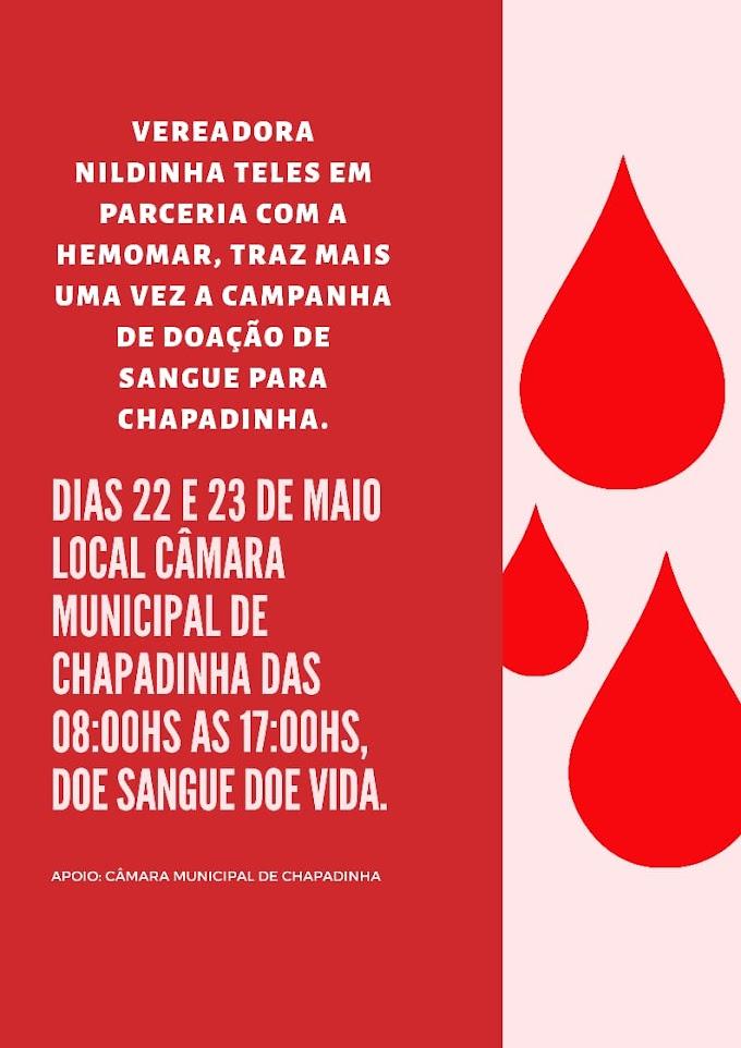 Câmara municipal de Chapadinha realiza campanha de doação de sangue