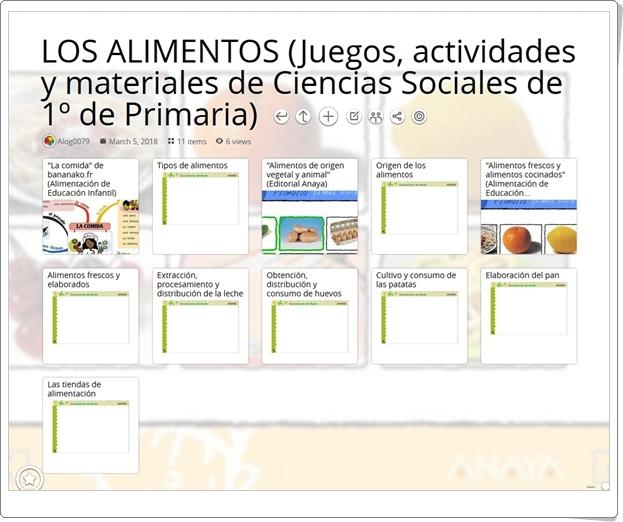 """""""11 Juegos, actividades y materiales para el estudio de LOS ALIMENTOS en 1º de Primaria"""""""