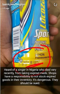 Banky W drank expired lucozade boost