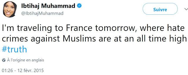 Tweet de Ibtihaj Muhammad qui dénigre la France de façon mensongère