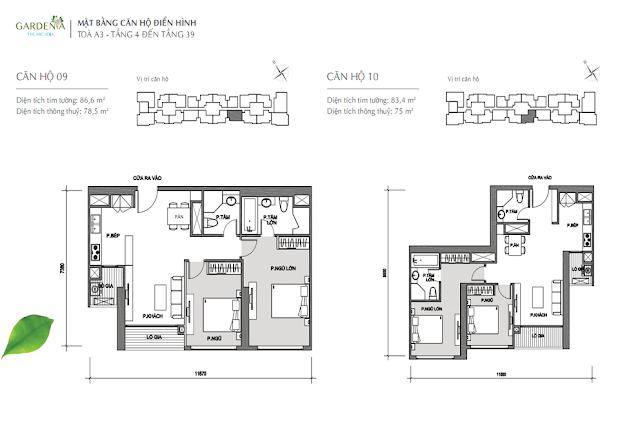 căn 9, 10 từ tầng 4 đến tầng 39 tòa A3 The Arcadia Vinhomes Gardenia
