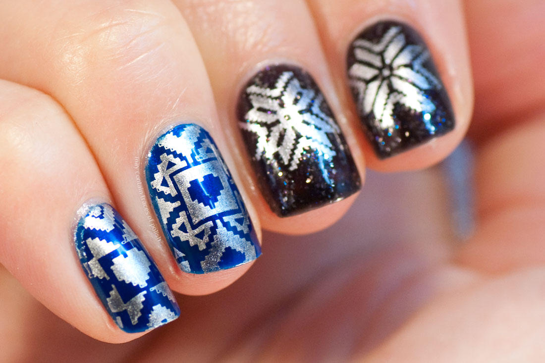 Christmas Sweater Nail Art. MoYou London Festive 37 stamping