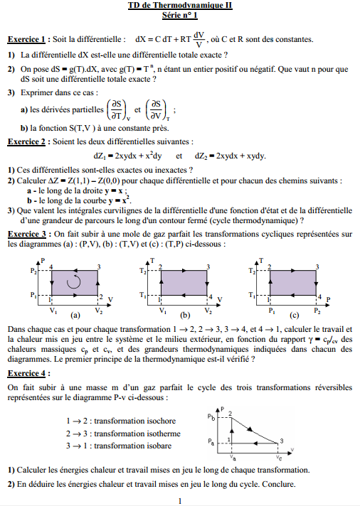 TD de Thermodynamique smp s3