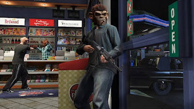 Trevor and Michael robbing a convience store Grand Theft Auto V