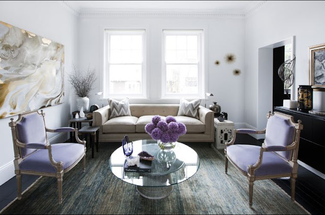 pale purple white living room