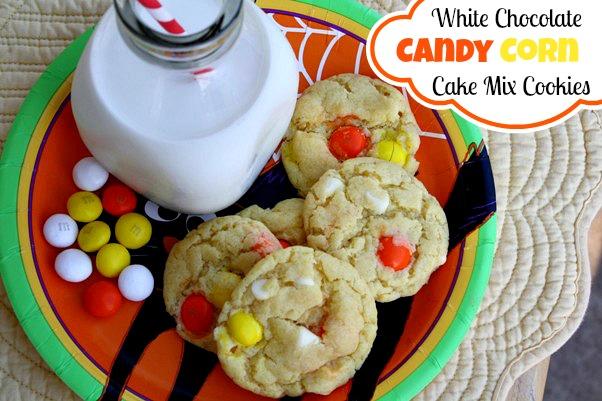 White Chocolate Candy Corn Cake Mix Cookies: