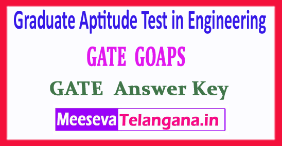 GATE Graduate Aptitude Test in Engineering GATE 2018 Answer Key Download
