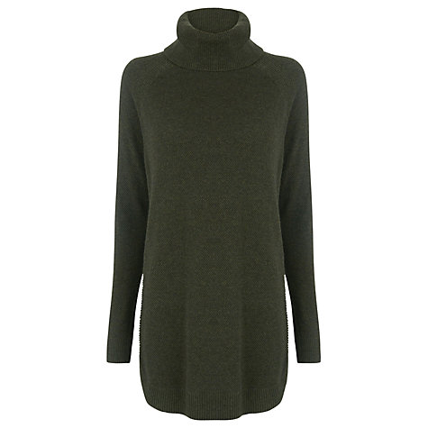Warehouse Ribbed Green Curved Hem Jumper