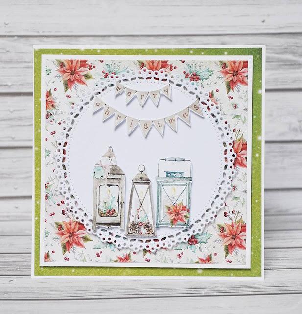 kartka na święta z latarenkami