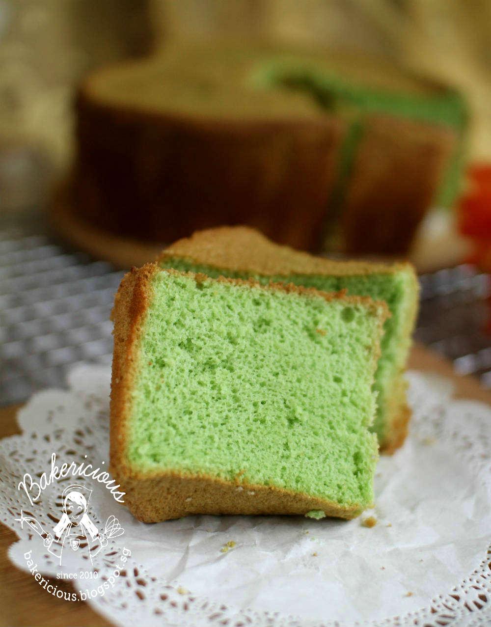 Bakericious Pandan Desiccated Coconut Rice Flour Chiffon