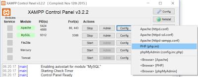File php.ini melalui XAMPP Control Panel