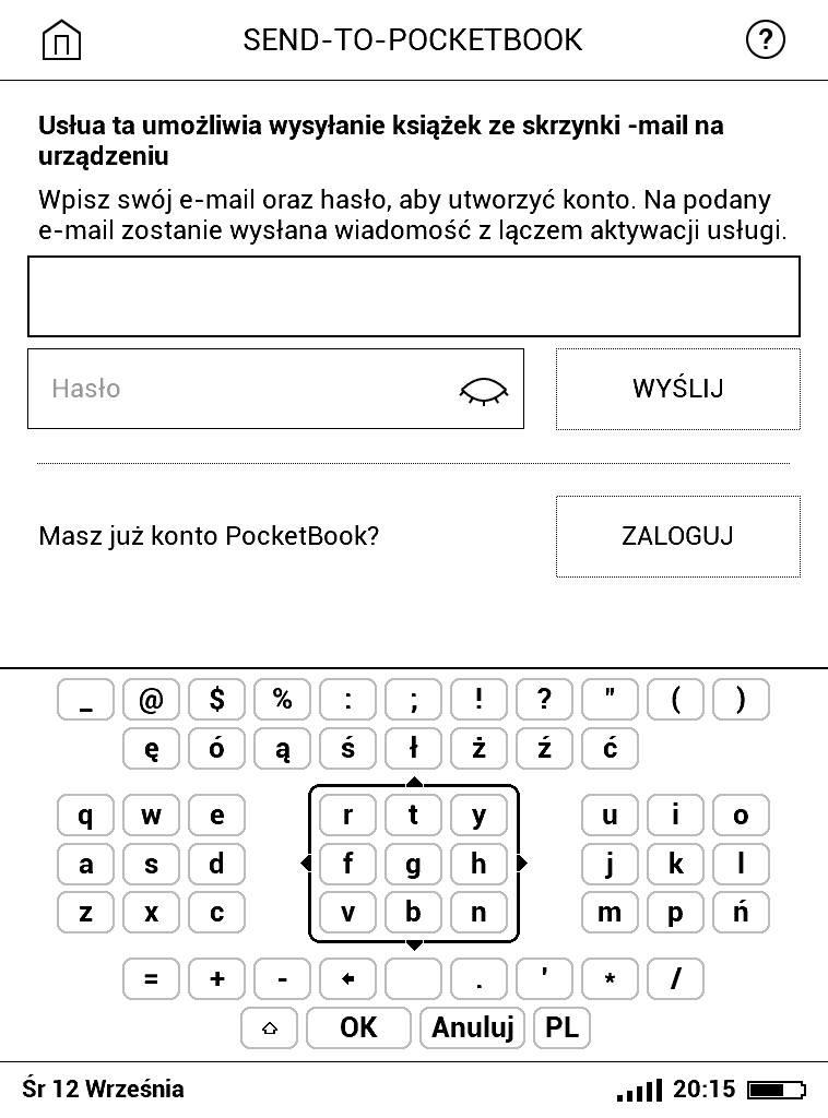 PocketBook Basic Lux 2 – wpisywanie hasła i loginu do usługi Send-to-PocketBook