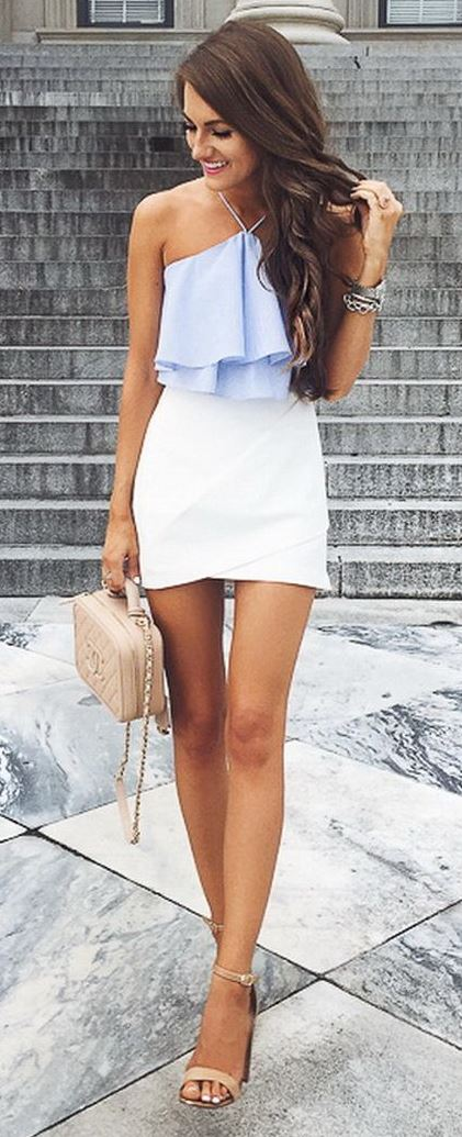 trendy summer caual style outfit: top + skirt + bag + heels