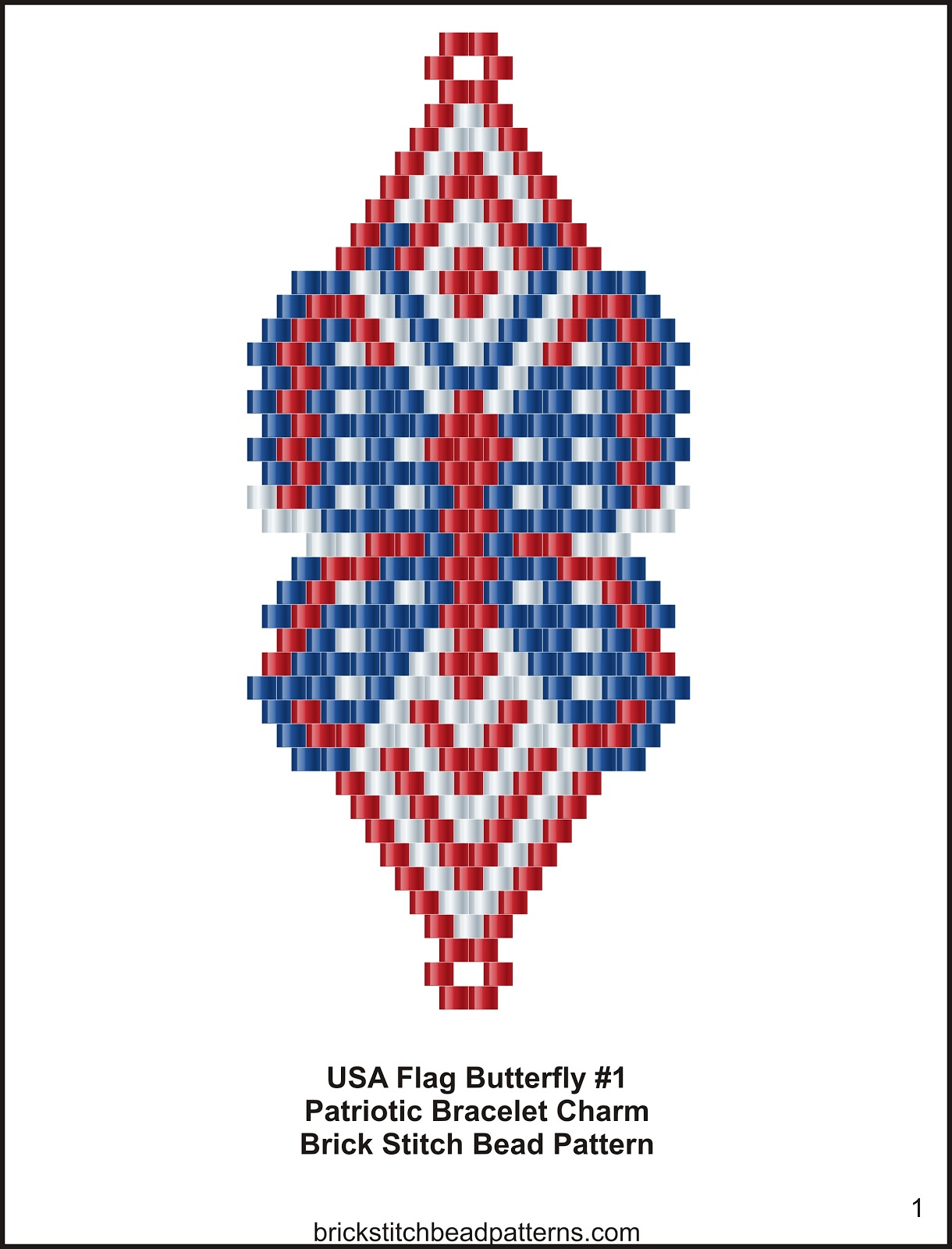 Brick stitch bead patterns journal usa flag butterfly 1 for Patriotic beaded jewelry patterns