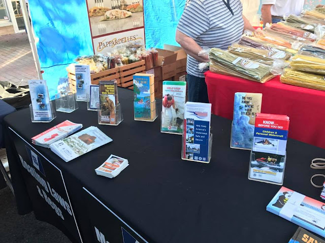A table with boating safety literature.