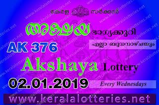 Kerala Lottery Results: 02-01-2019 Akshaya AK-376 Lottery Result
