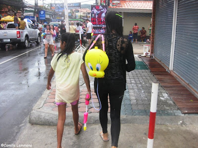Songkran 2013 on Koh Samui,mum, daughter and Tweety having a ball
