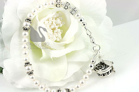 Custom Pearl Bali Bridal Memorial Bracelet (B168) with Flower