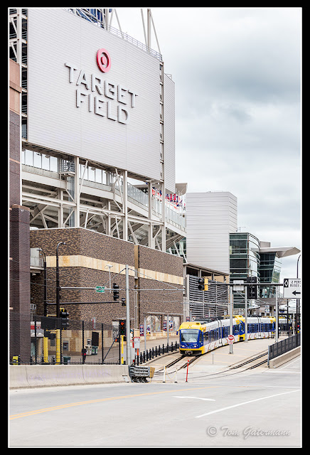 A Metro Blue Line train departs Target Field's platform 1 station in Minneapolis, MN