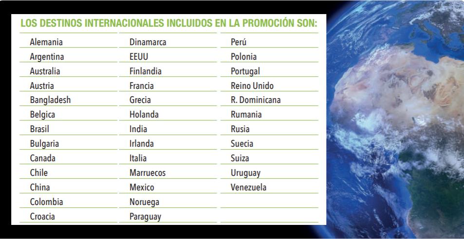 HitsMobile ofrece llamadas gratuitas a los siguientes destinos