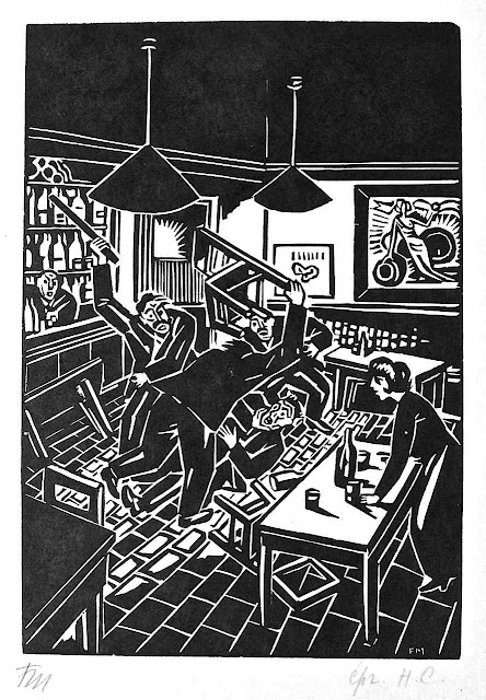 Franz Masereel woodcut of angry violence