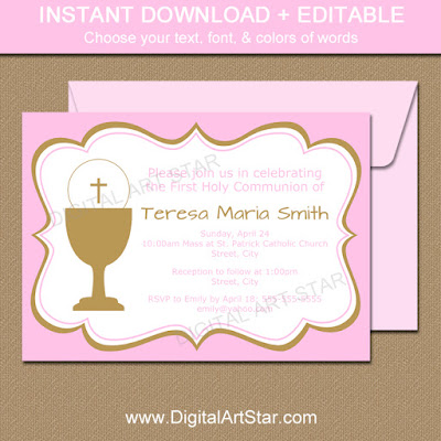 pink & gold printable first holy communion invitation printable
