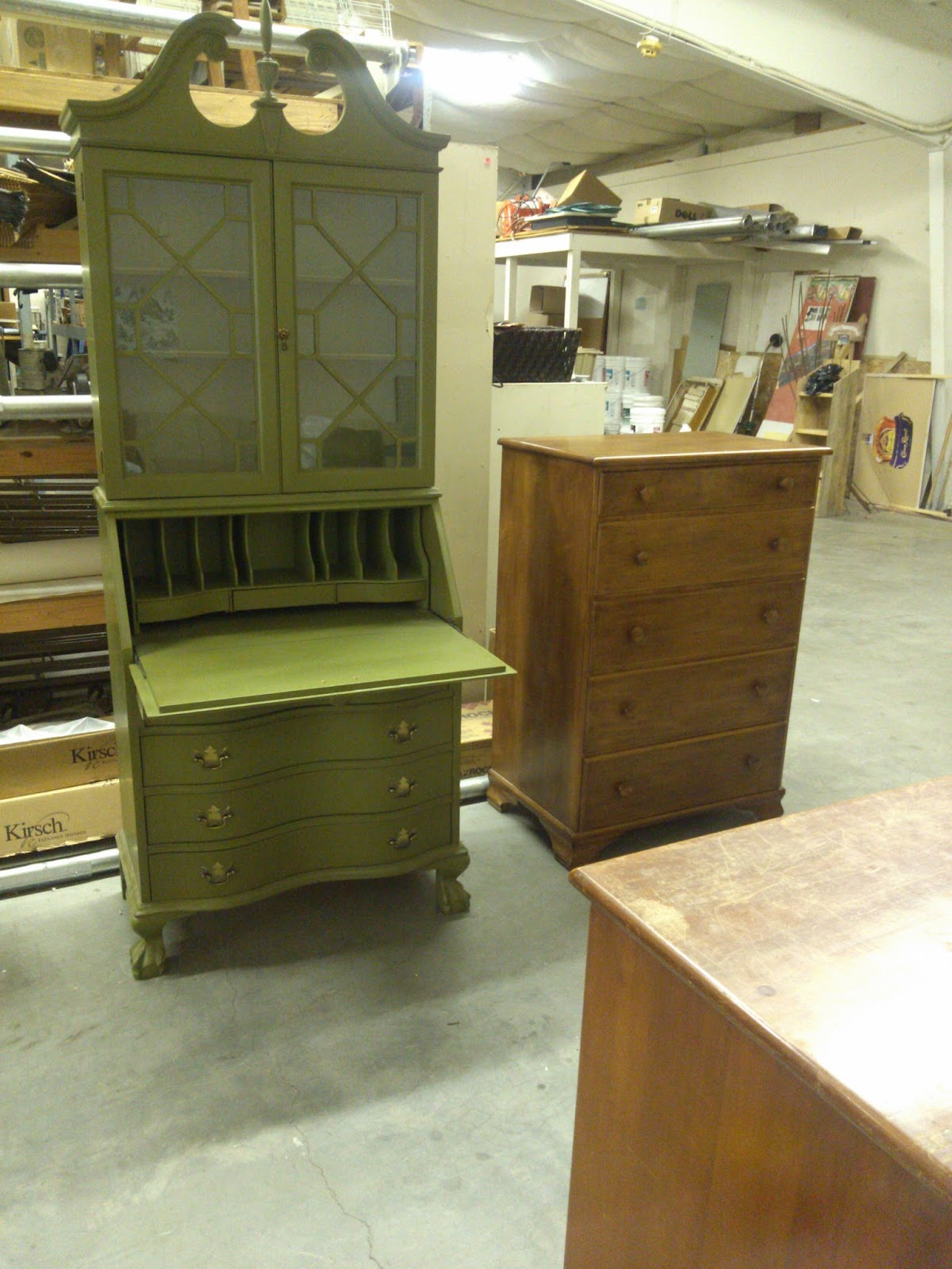 Here S The Before Shot It In Great Shape And Has All Fretwork Hardware Drawers Work But 1970 Antiqued Green Finish
