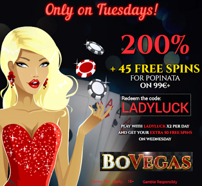 Bovegas Casino 200% Tuesday Bonus and 45 Free Spins
