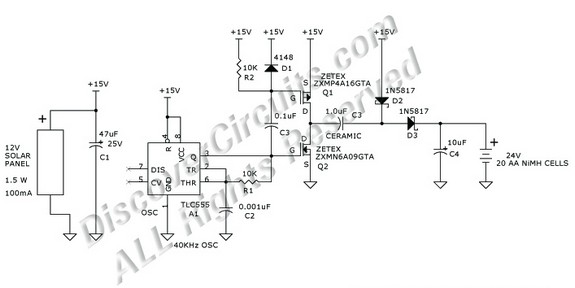 circuit schematic 24v nimh battery charger using a 12v solar panel based on 555 ic
