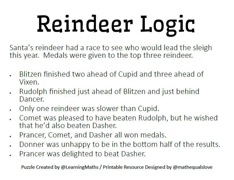 photograph relating to Christmas Logic Puzzles Printable known as Math \u003d Appreciate: Reindeer Logic Puzzle in opposition to @LearningMaths