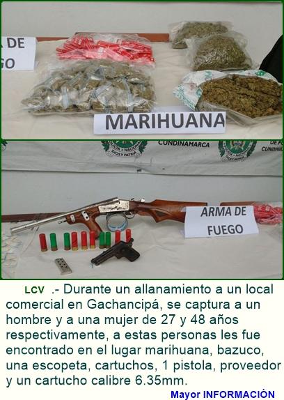 Capturas en Gachancipá por estupefacientes y porte de armas de fuego