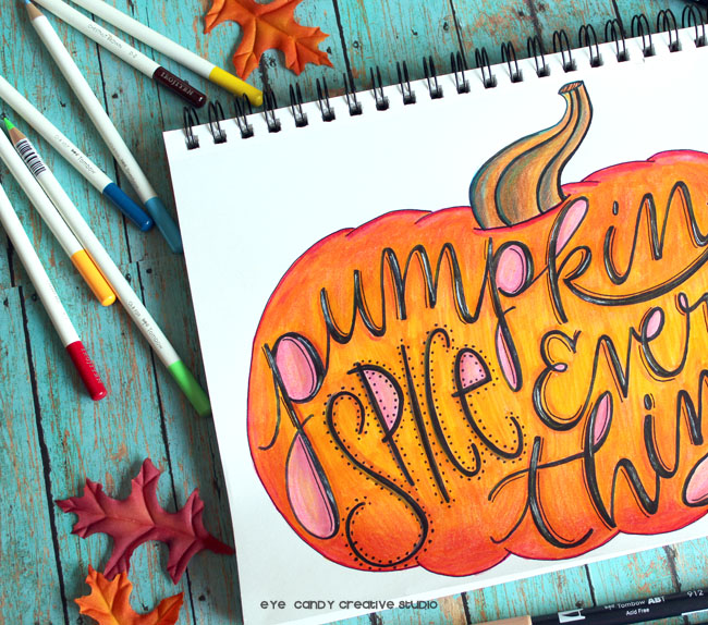 hand lettering, pumpkin illustration, fall pumpkin art, sketchbook, tombowpro