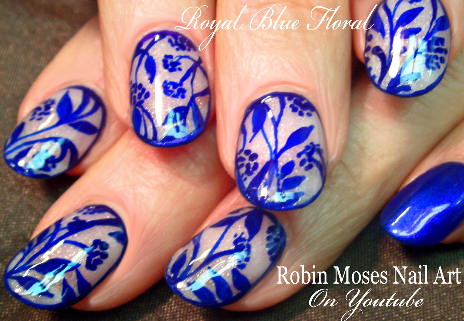 Robin Moses Nail Art: Royal Blue Delft Blauw Nail Art ...
