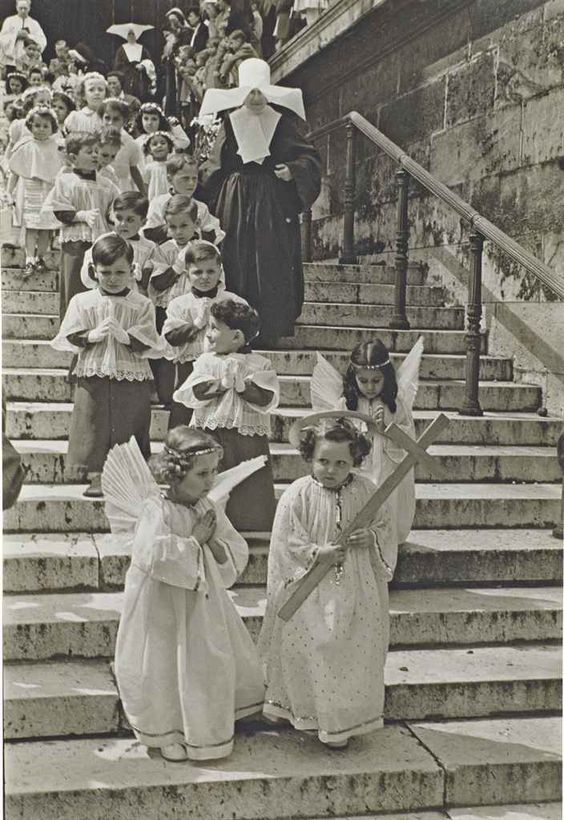 "A Religious Procession at the Madeline Church"" Paris, 1951. The Christmas Story Explained and other stories of Christmas Creepers. marchmatron.com.jpg"