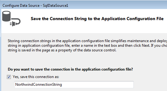 Configure Data Source SqlDataSource