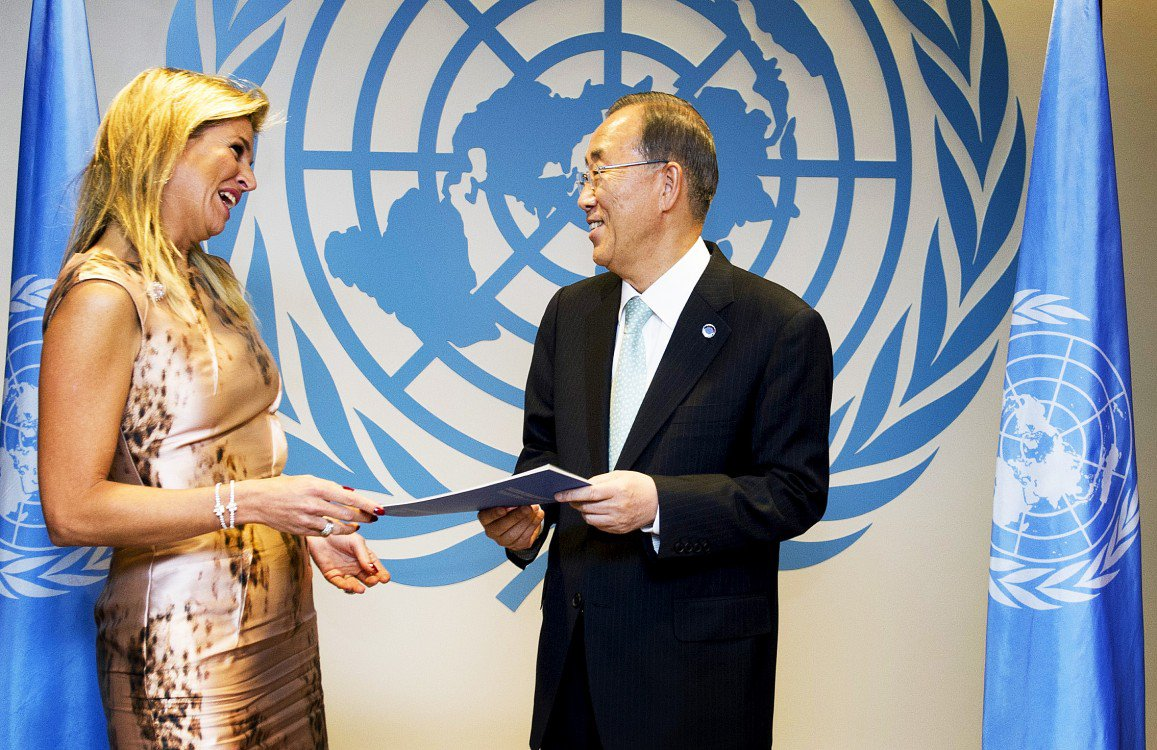 Queen Maxima pictured with the General Secretary of the United Nations