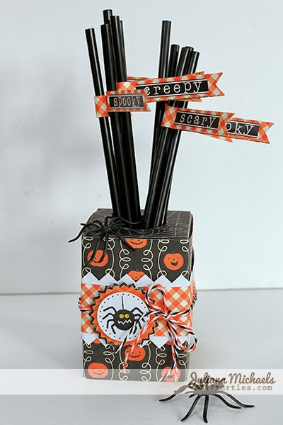 Spooky Halloween Table Decor Straws and Holder by Juliana Michaels