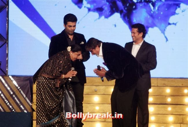 Asha Bhosle, Karan Johar and Amitab Bachchan and Sachin Tendulkar, Bollywood Celebs at Umang Police Show 2014