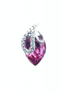 Pandantiv din argint 925 cu cristal Austria roz