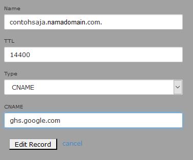 edit data CNAME dari subdomain