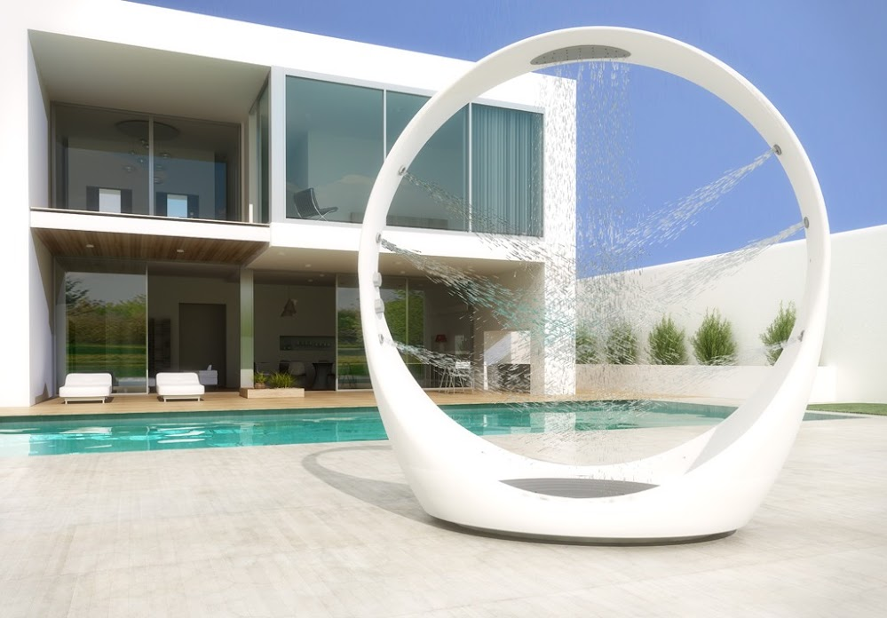 modern-white-circle-shower-outside