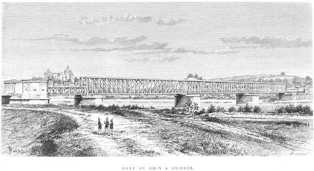 Pont-rail de Brisach vers 1880