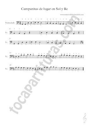 3 Partitura de Violonchelo de Estrellitas del Lugar (más partituras de Campanitas del Lugar aquí) Clave de FA & Vídeo tutorial Como tocar Amazing Grace en Violonchelo